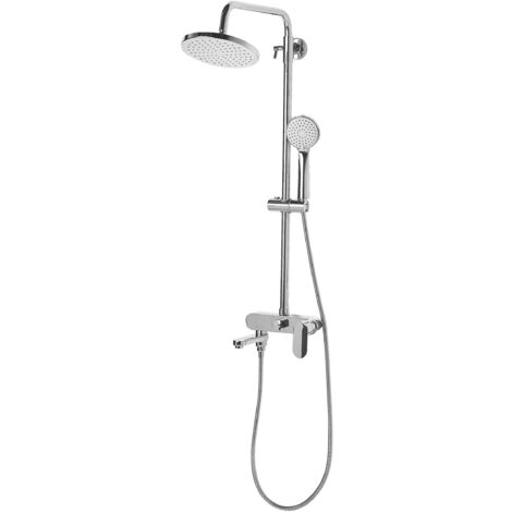Classic Mixer Shower Set with Rain Function Brass Silver Gloss Finish Gurara