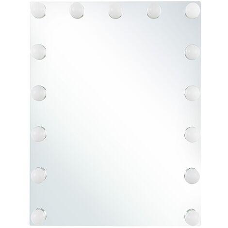 Classic Rectangular Bathroom Wall Vanity Mirror White LED Light Bulbs Lucenay