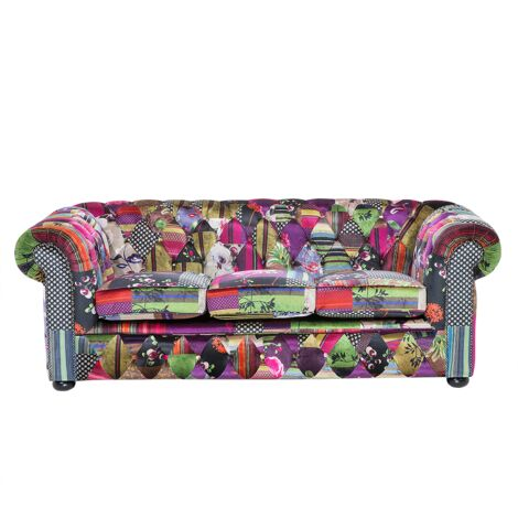 """main image of """"Classic Sofa 3 Seater Button Tufted Patchwork Purple Chesterfield"""""""