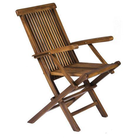 Classic Solid Teak Wooden Folding Outdoor Chair - Garden Patio Decking Furniture