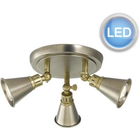 Classic Styled 3 Way LED Ceiling Adjustable Spot Light Downlight Fitting Antique Brass Chrome