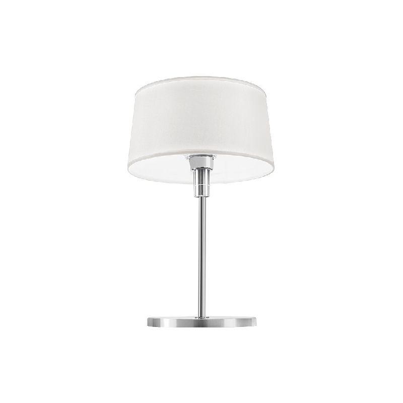 Homemania - Classic Tischlampe - vom Schreibtisch, Buero, Nachttisch - Weiss, Chrom aus Messing, Stoff, 27 x 27 x 39 cm, 1 x E27, Max 53W, 220-240V