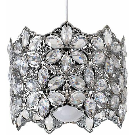 Classic Traditional Pendant Shade Acrylic Crystal Decorative Jewel Chrome