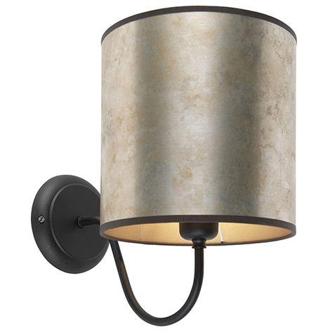 Classic wall lamp black with zinc velor shade - Matt