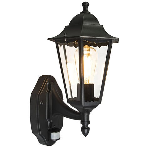 Classic Wall Lantern Black with Motion Sensor IP44 - New Orleans Up