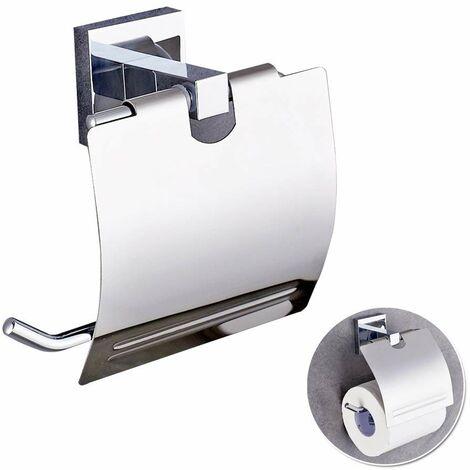Classique Porte-papier Toilette Dévidoir Papier Auto-Adhésif Mural Support de Papier WC Toilet Paper Holder en Acier Inoxydable de Bon Design et de Qualité Superbe pour Salle de Bain Argent