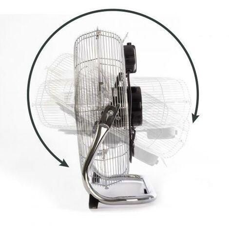 Clatronic VL 3731 WM-Fan (Metal Chrome), 120 W, Metal Chrome, XXL Durchmesser (50cm), Ruhiger Lauf, filtre métallique extra large pour plus de ventilation