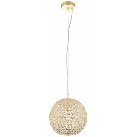 Claudia pendant light, brass and crystal, 25 cm