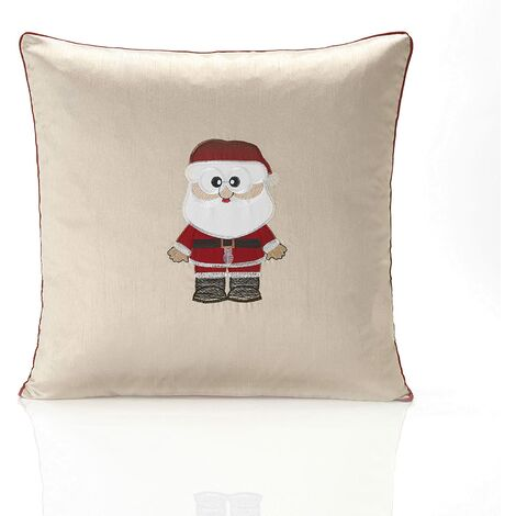 """Claus Cream Cushion Cover 18"""" Bed Sofa Accessory Unfilled Christmas"""