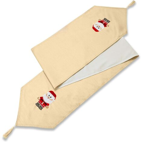 """Claus Cream Table Runner 72"""" Christmas Dining Kitchen Table Decor"""