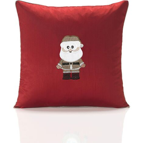 """Claus Red Cushion Cover 18"""" Bed Sofa Accessory Unfilled Christmas"""