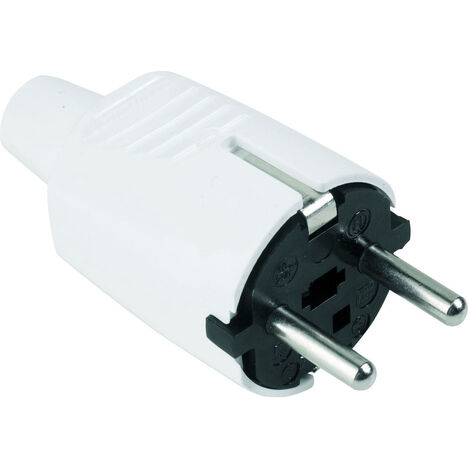 Clavija de PVC blanca con TTL 16A 250V (Fenoplástica 144)
