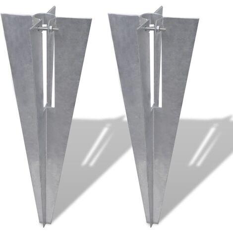 Clavijas de postes de valla 2 unidades acero
