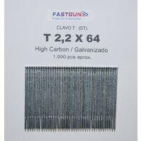 Clavos Galvanizados de Acero al Carbono con cabeza y de 2,20 mm de grosor por 64 de largo Tipo ST64 mm - 1 Caja de 1.000 unidades