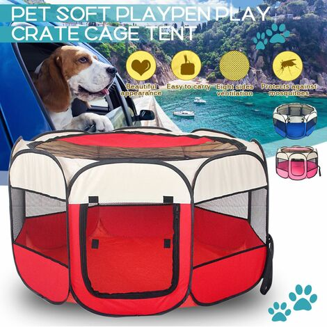 Claw Print Portable Foldable Pet Tent House Fence Indoor Outdoor Game Backing Playpen Animal Cage for Cat Dog (Red, 73X73X43CM)