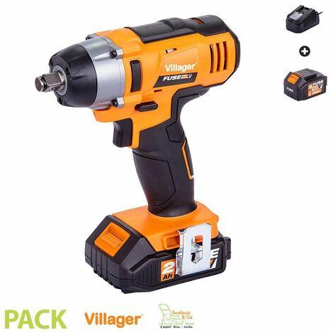 Clé à chocs électrique 18V 180Nm avec batterie et chargeur Fuse VLN 3320 Villager - Orange