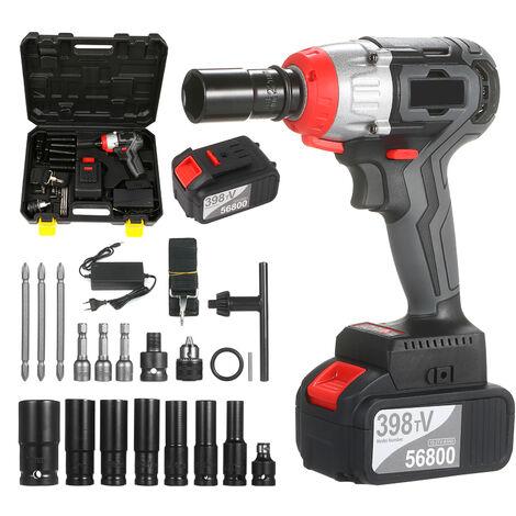 Cle A Chocs Sans Fil Kit Drill Brushless 1/2 Et 1/4 Pouce Rapide Chuck 980Nm Couple Chargeur Rapide 2X4.0A Batterie A Vitesse Variable, 2 Batterie
