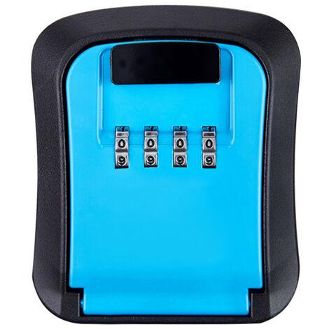 Cle De Stockage De Verrouillage Boite Murale Combinaison A 4 Chiffres Mot De Passe Retrievable Exterieur Cle Coffre-Fort Code Reprogrammable Porte-Cles Hider, Bleu