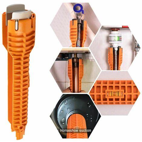 Clé d'installation multifonctionnelle pour robinet et évier, poignée antidérapante, plomberie Orange