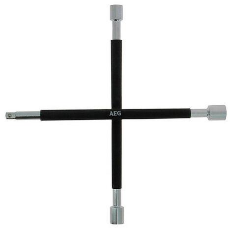 Clé en croix renforcée démonte-roues - douilles 17 - 19 - 21 mm - carré 1-2 - AEG