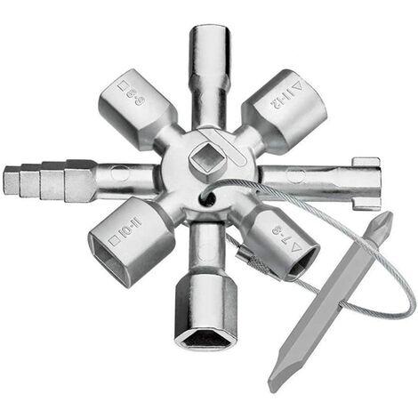 Cle Utilitaire Multifonction, Clé utilitaire 10 en 1, clé cruciforme universelle, multifonction, adaptée pour compteur de gaz, d'eau, électrique, boîte de contrôle d'armoire de train (argent)