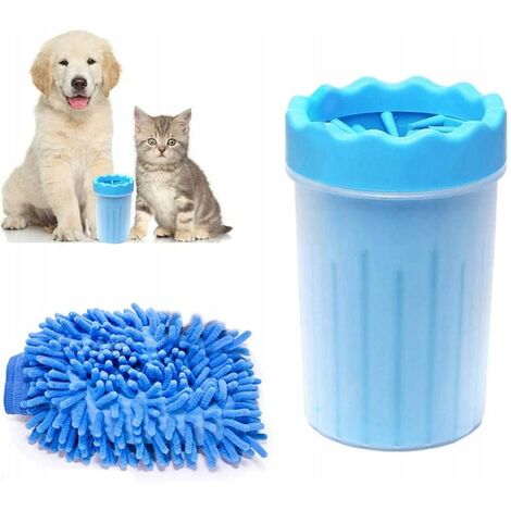 """main image of """"Cleaner for dog paws, animal leg cleaner with towel, pet cleaning brush-blue trumpet"""""""