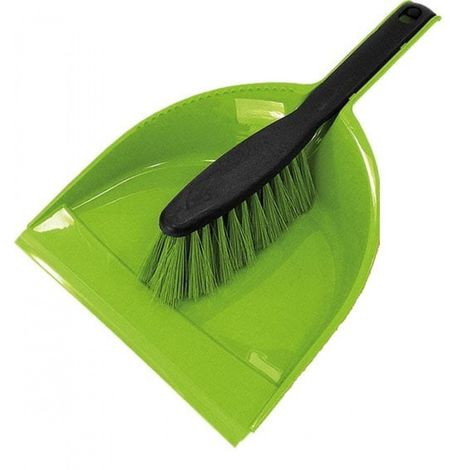 Cleaning set brush with dustpan and rubber