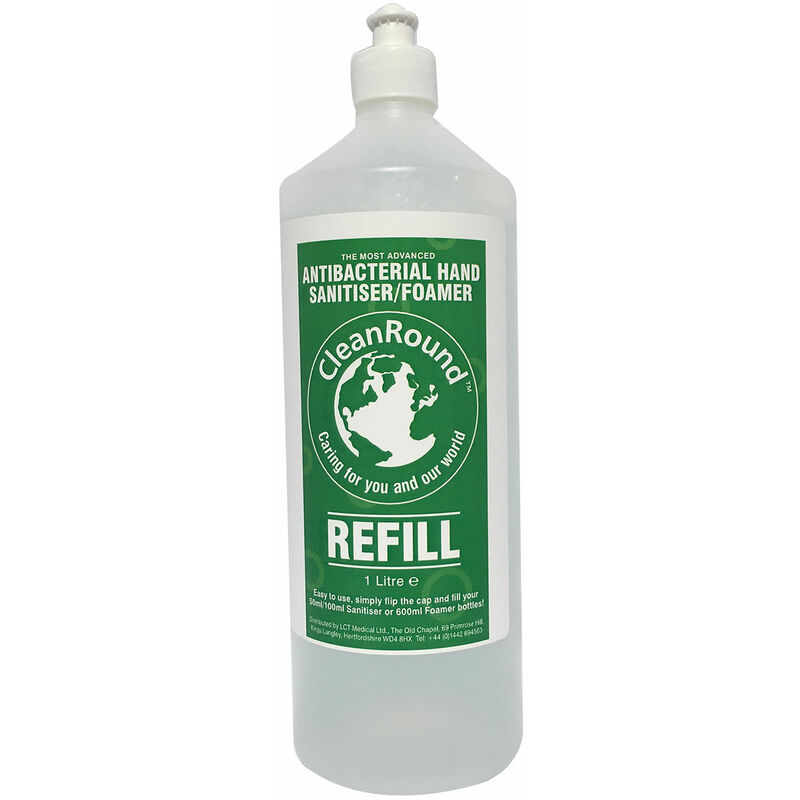 Image of Liquid Hand Sanitizer (1L) (White/Green) - Cleanround