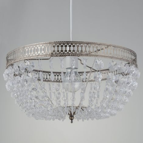 Clear Acrylic With Chrome Or Antique Brass Plate Detail Jewelled Easy Fit Ceiling Lightshade Lampshade Pendant Chandelier Height 18.5 cm Diameter 36 cm LED Compatible Crystal Style