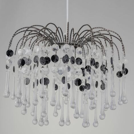 Clear & Black Or Champagne Acrylic With Polished Chrome Plate Detail Jewelled Easy Fit Ceiling Lightshade Lampshade Pendant Chandelier Height 26 cm Diameter 21 cm LED Compatible Crystal Style