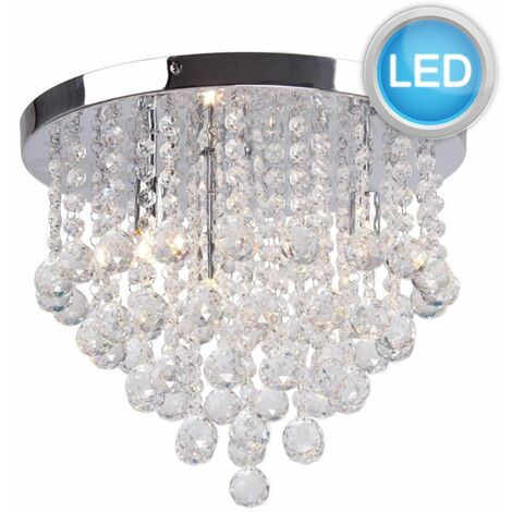 Clear Faceted Crystal Glass Flush Ceiling Light with LED Bulbs