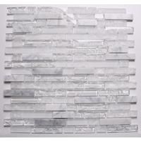 Clear & Frosted Glass & White Stone Brick Shape Mosaic Tiles Sheet MT0153