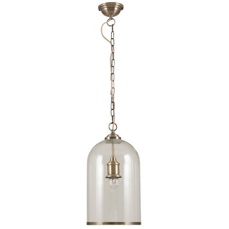 Clear Glass and Antique Brass With Crome Metal Trim Pendant Light