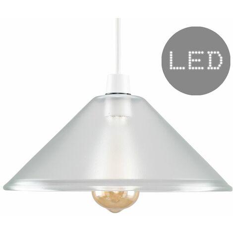 Clear Glass Ceiling Pendant Light Shade + 4W LED Filament Bulb - Warm White