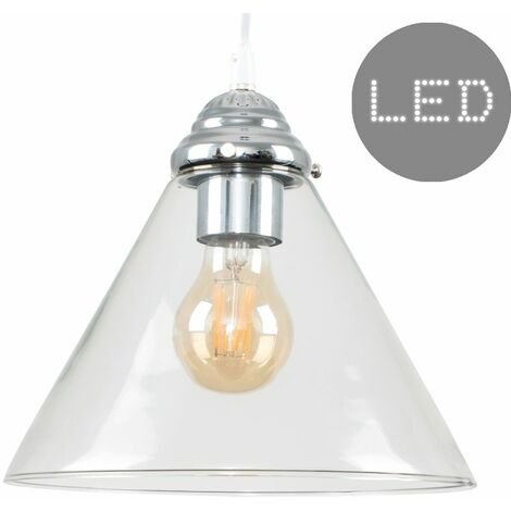 Clear Glass Chrome Ceiling Pendant Cone Shape Light 4w Warm