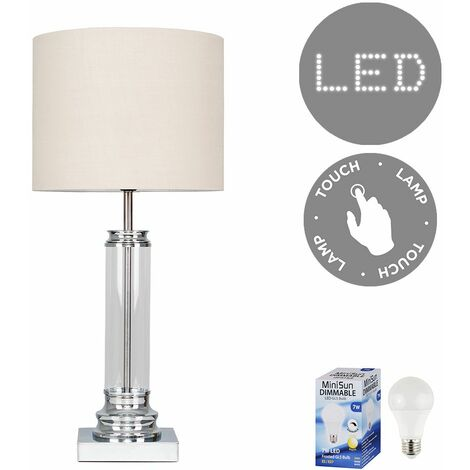 Clear Glass Column Touch Table Lamp + Beige Shade + 7W LED Dimmable Bulb Warm White - Silver