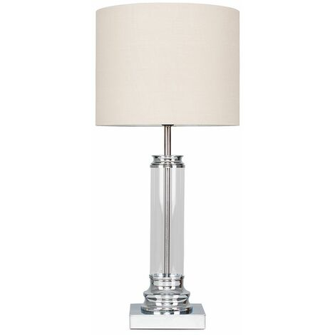 Clear Glass Column Touch Table Lamp + Beige Shade - Silver