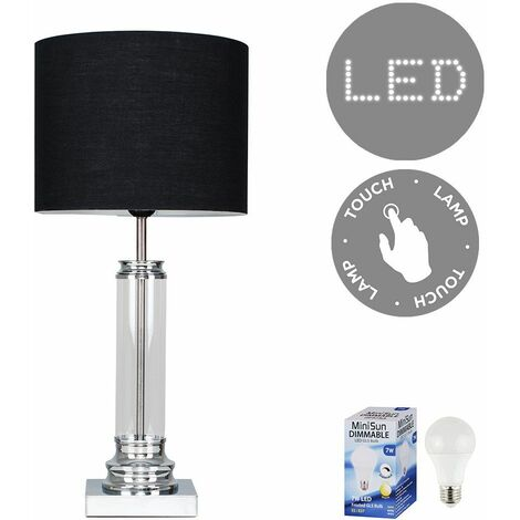 Clear Glass Column Touch Table Lamp + Black Shade + 7W LED Dimmable Bulb Warm White - Silver