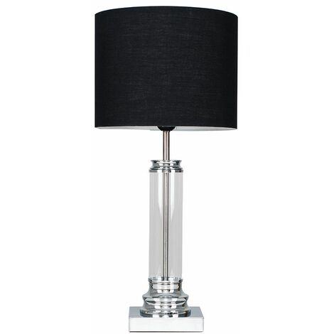 Clear Glass Column Touch Table Lamp + Black Shade - Silver