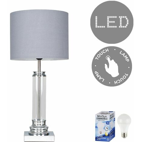 Clear Glass Column Touch Table Lamp + Grey Shade + 7W LED Dimmable Bulb Warm White - Silver