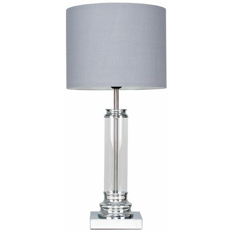 Clear Glass Column Touch Table Lamp + Grey Shade - Silver