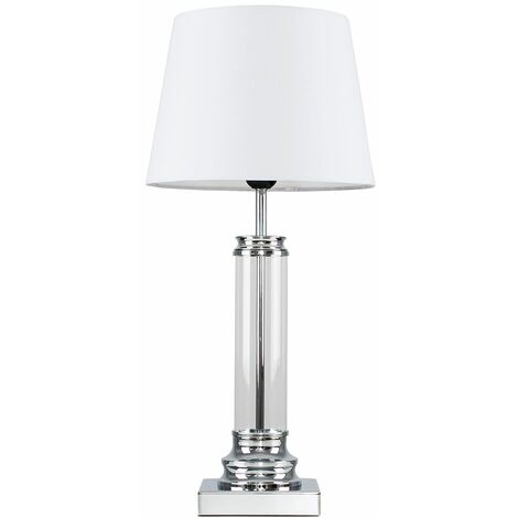 Clear Glass Column Touch Table Lamp + White Shade - Silver