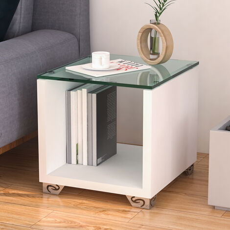 Clear Glass High Gloss Side End Coffee Table Bedside Stand