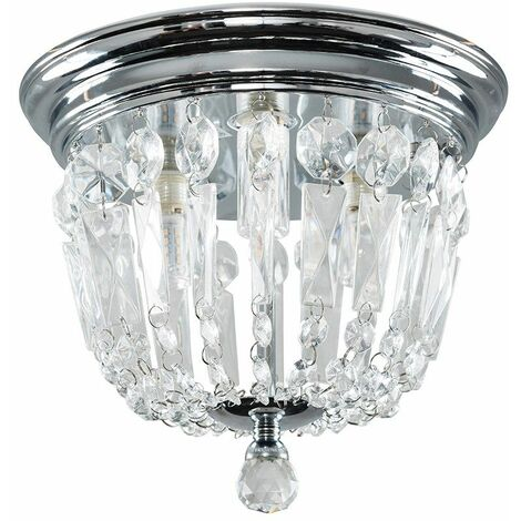 Clear Glass Jewel Droplet Ceiling Light Flush Lounge Lighting