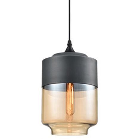 Clear Glass Pendant Light Cylinder Lampshade Vintage Industrial Chandelier Creative Metal Hanging Lamp for Loft Living Room Kitchen