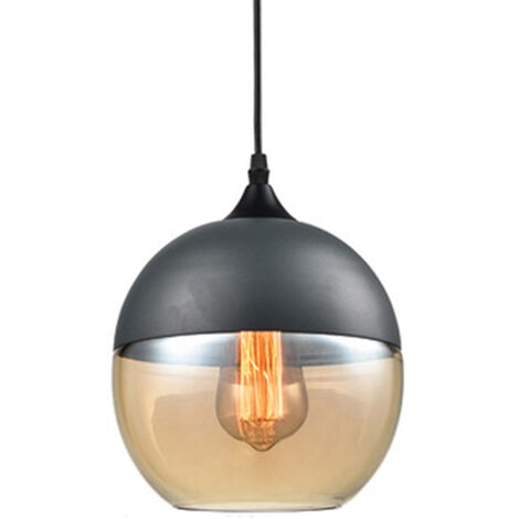 Clear Glass Pendant Light Vintage Industrial Chandelier Creative Hanging Lamp Round Lampshade for Loft Living Room Kitchen