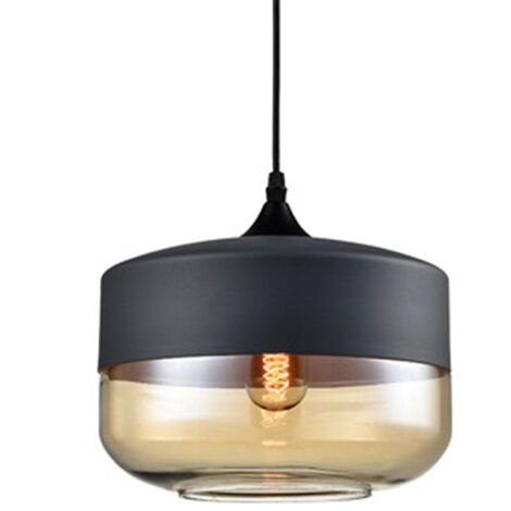 Clear Glass Pendant Light Vintage Industrial Chandelier Creative Metal Hanging Lamp Oval Lampshade for Loft Living Room Kitchen