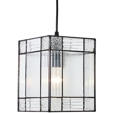 Clear Glass Tiffany Easy Fit Pendant Shade with Square and Rectangular Panels by Happy Homewares