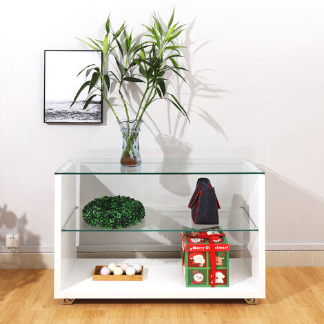 Clear Glossy Glass Coffee Table Side End Console Table