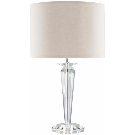 Clear K9 Crystal Base Table Lamp + Beige Shade